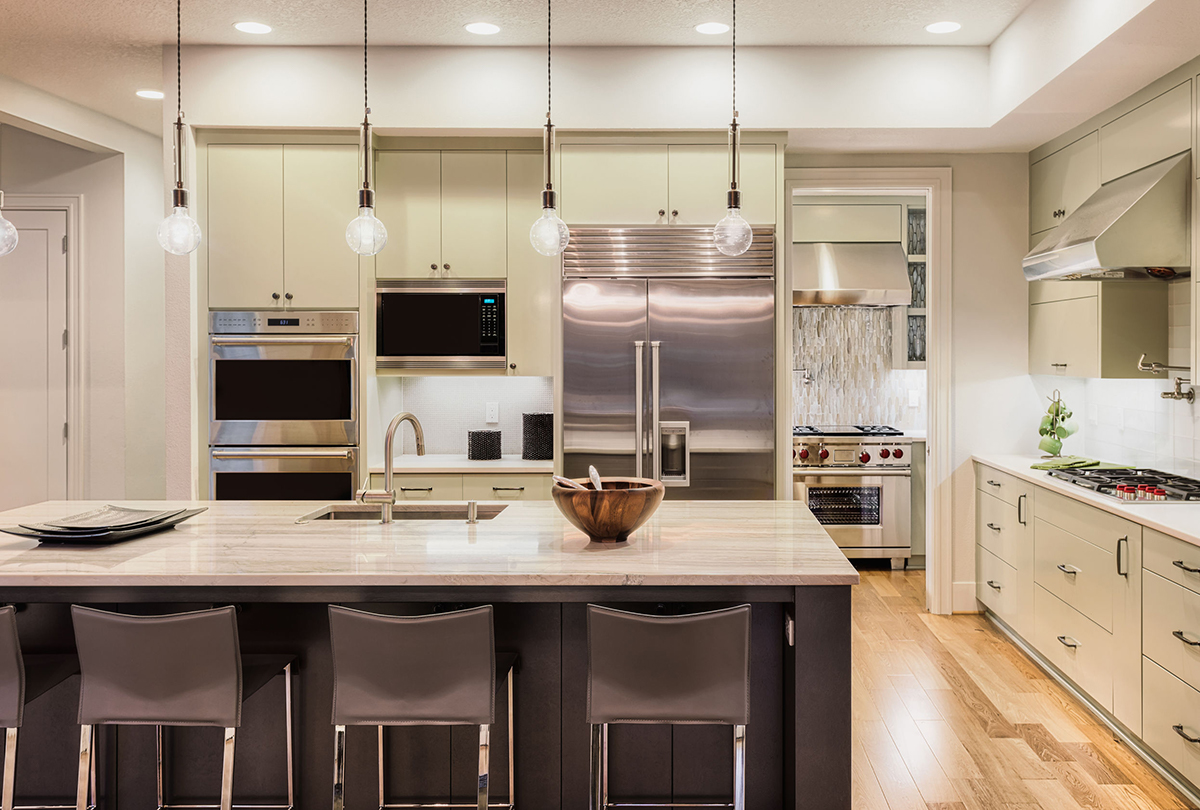 Design ideas - Luxury light green kitchen