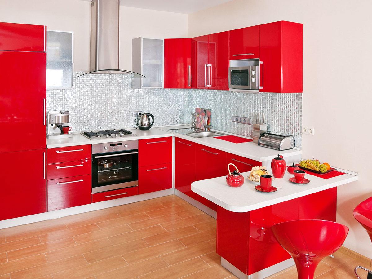Design ideas - Modern red kitchen